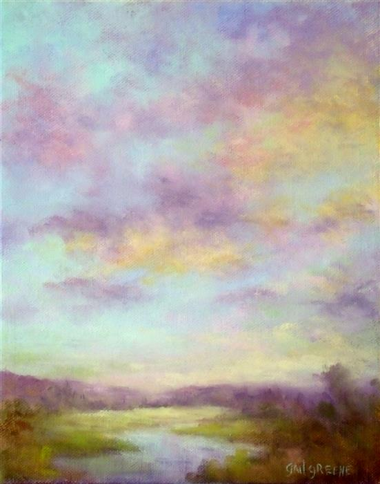 Discover Original Art by Gail Greene | Pink and Amber Sunset oil painting | Art for Sale Online at UGallery
