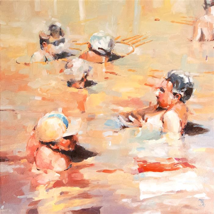 Discover Original Art by Tony Belobrajdic | Italian Bathers 2 oil painting | Art for Sale Online at UGallery