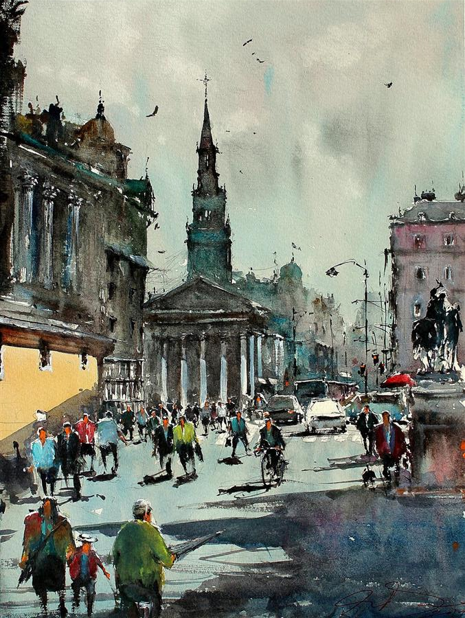 Discover Original Art by Maximilian Damico | Morning in Trafalgar watercolor painting | Art for Sale Online at UGallery