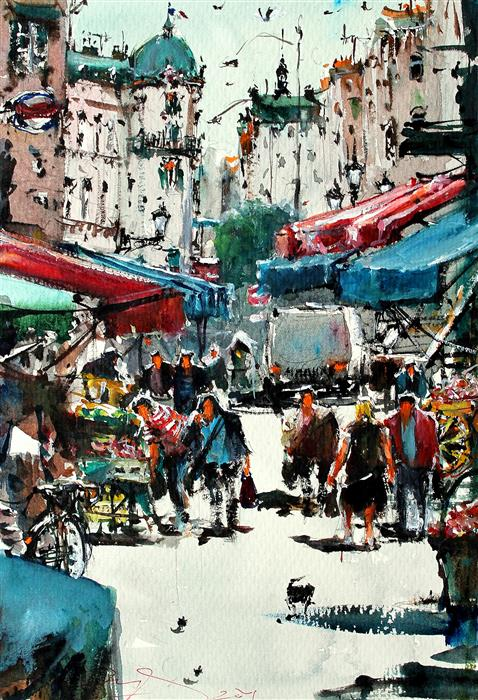 Discover Original Art by Maximilian Damico | Paris Local Market watercolor painting | Art for Sale Online at UGallery