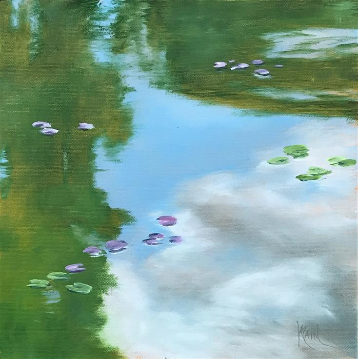 Discover Original Art by Mandy Main | Lily Pond IV oil painting | Art for Sale Online at UGallery