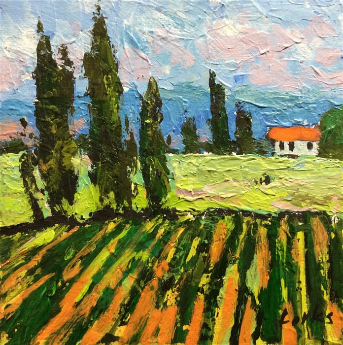 Discover Original Art by David Forks | Vineyard and Cypress acrylic painting | Art for Sale Online at UGallery