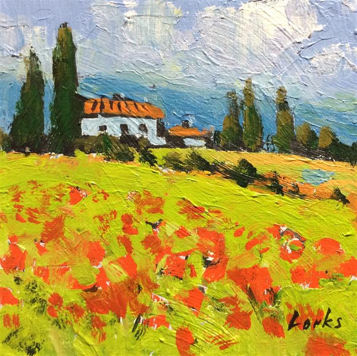 Discover Original Art by David Forks | Poppy Field acrylic painting | Art for Sale Online at UGallery