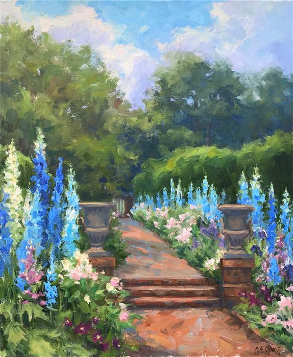 Discover Original Art by Jennifer Young | Delphinium Walk oil painting | Art for Sale Online at UGallery