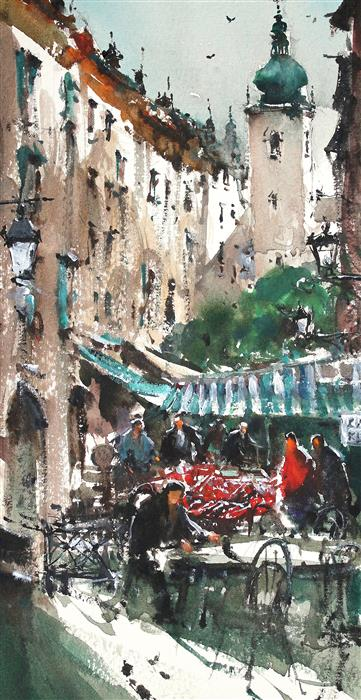 Discover Original Art by Maximilian Damico | Prague Market Place watercolor painting | Art for Sale Online at UGallery