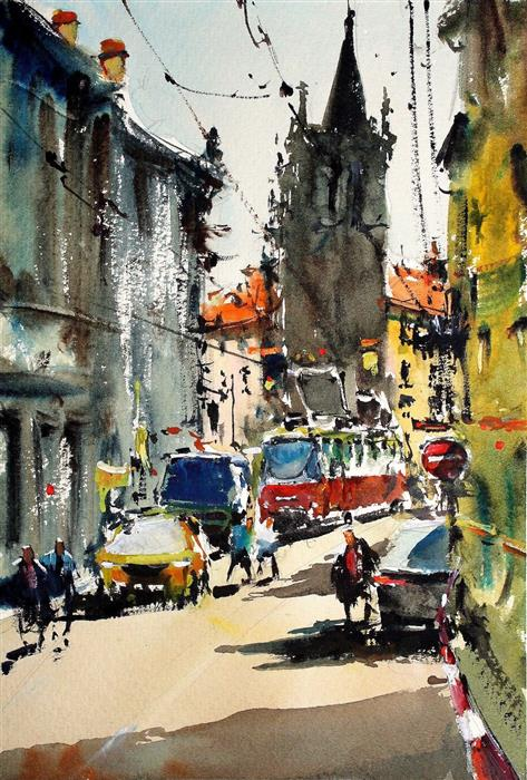 Discover Original Art by Maximilian Damico | Crowded Prague watercolor painting | Art for Sale Online at UGallery