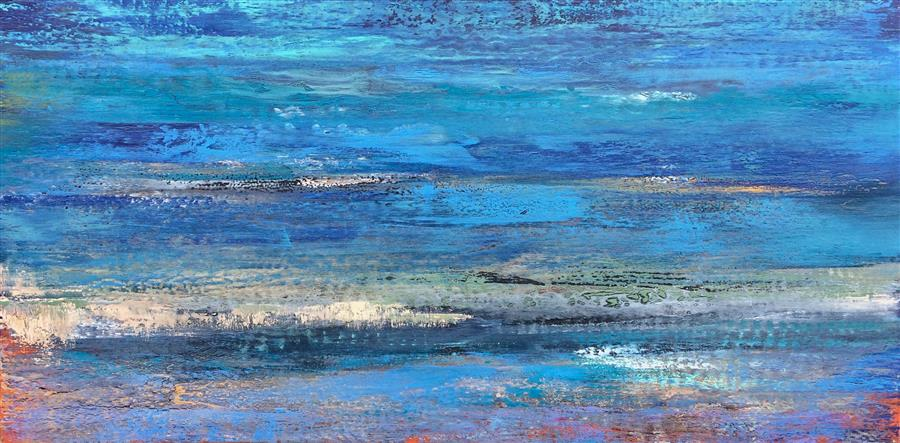 Discover Original Art by Alicia Dunn | In the Blue Light of Dusk II mixed media artwork | Art for Sale Online at UGallery