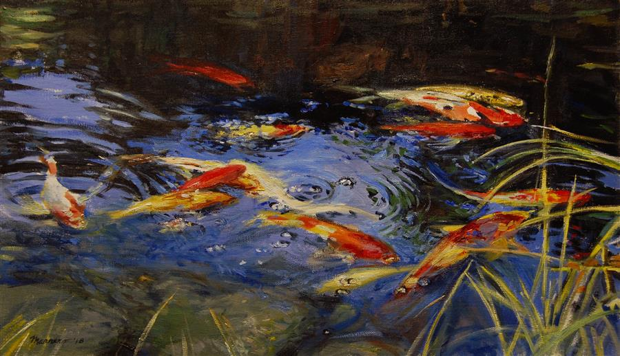 Discover Original Art by Onelio Marrero | Kent's Koi oil painting | Art for Sale Online at UGallery