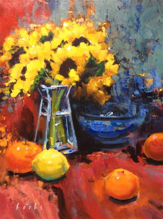 Discover Original Art by David Forks | Sunflowers and Fruit acrylic painting | Art for Sale Online at UGallery