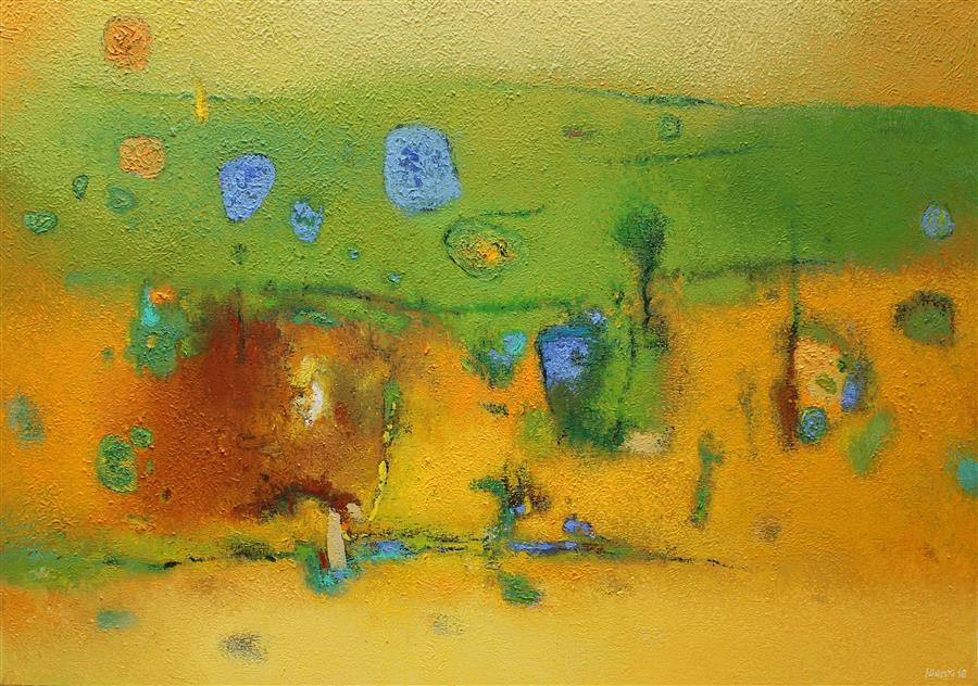 Discover Original Art by Orce Nineski | Untitled (Yellow & Green) acrylic painting | Art for Sale Online at UGallery