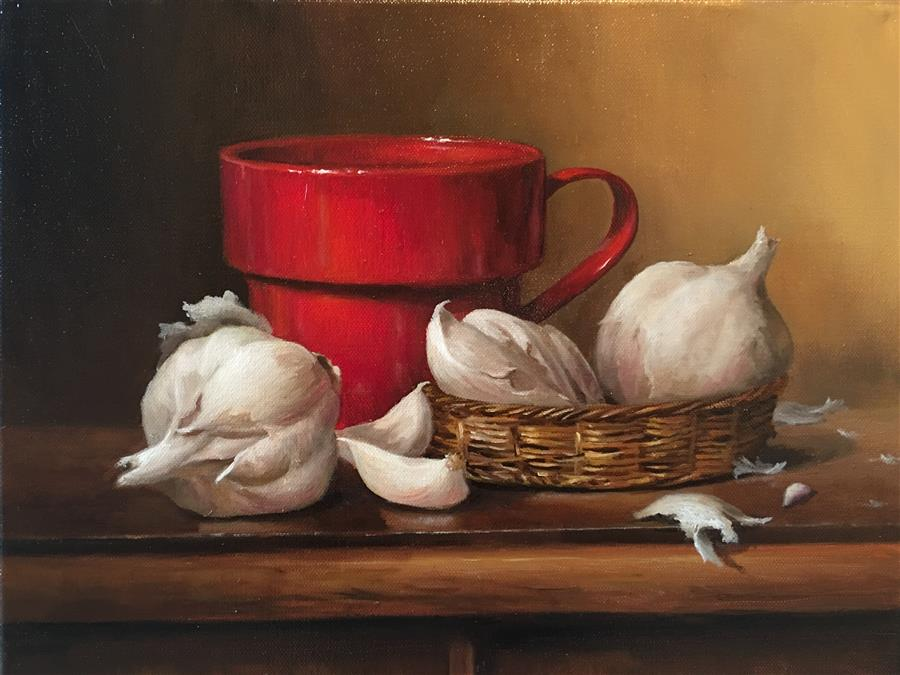 Discover Original Art by Nikolay Rizhankov | Still Life with Red Mug  oil painting | Art for Sale Online at UGallery