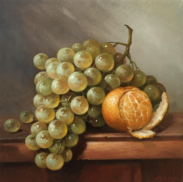 Discover Original Art by Nikolay Rizhankov | Mandarin and Grape oil painting | Art for Sale Online at UGallery