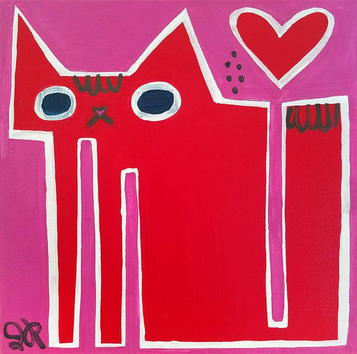 Discover Original Art by Jessica JH Roller | Valentine's Cat acrylic painting | Art for Sale Online at UGallery