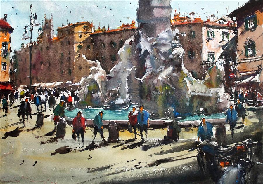 Discover Original Art by Maximilian Damico | Dolce Vita in Piazza Navona watercolor painting | Art for Sale Online at UGallery