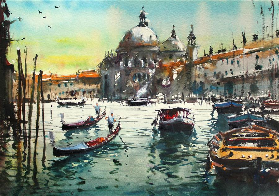 Discover Original Art by Maximilian Damico | Venice Overcrowded watercolor painting | Art for Sale Online at UGallery