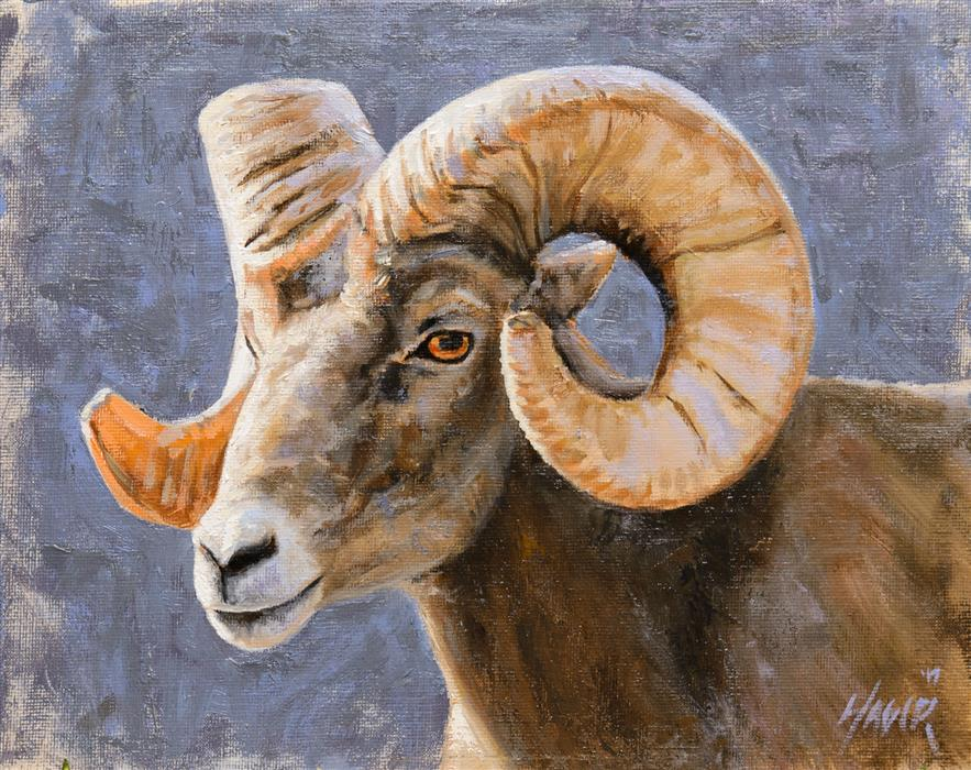 Discover Original Art by Nathan Hager | Big Horn Portrait oil painting | Art for Sale Online at UGallery