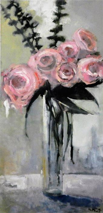 Discover Original Art by Mary Pratt | Tall Pink oil painting | Art for Sale Online at UGallery