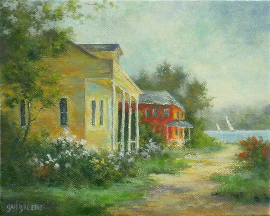 Discover Original Art by Gail Greene | The Lake House oil painting | Art for Sale Online at UGallery