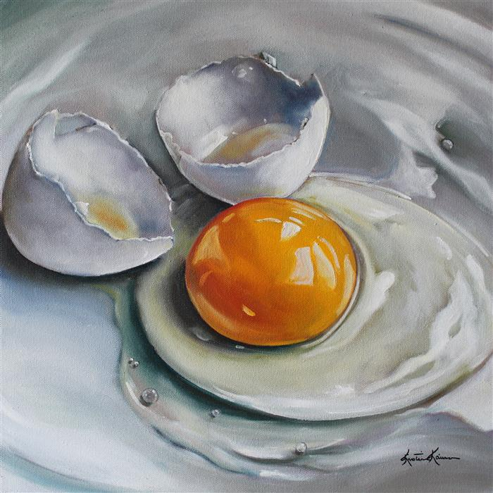 Discover Original Art by Kristine Kainer | Cracked White Egg on China oil painting | Art for Sale Online at UGallery