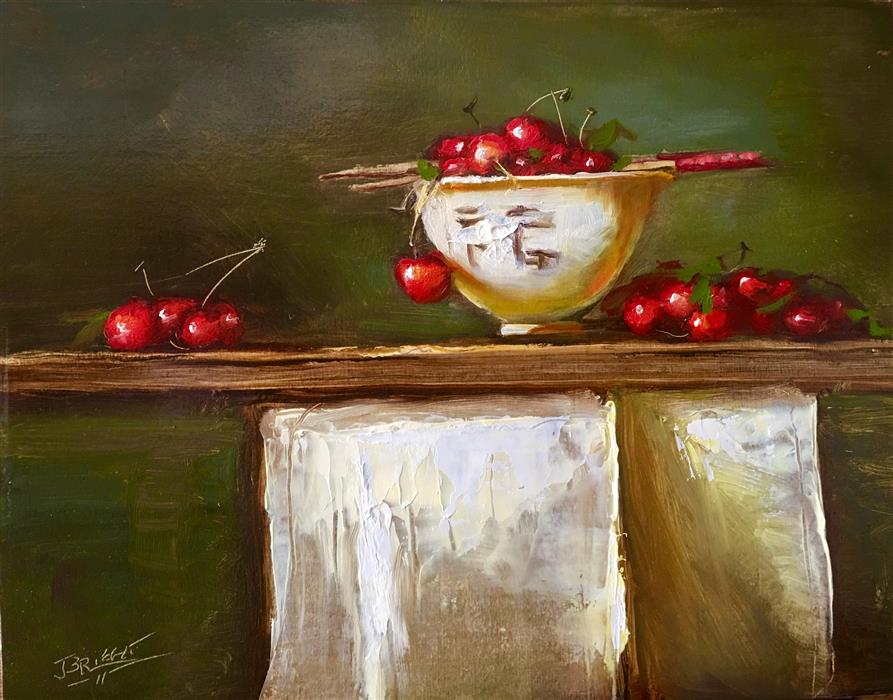 Discover Original Art by Julia Bright | Life Is a Bowl of Cherries oil painting | Art for Sale Online at UGallery
