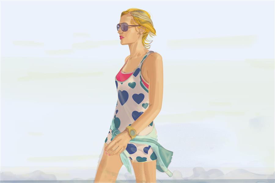"Original art for sale at UGallery.com | Paola walking at the sea. A new sense of lightness. by MARIO ""NEROSUNERO"" SUGHI 