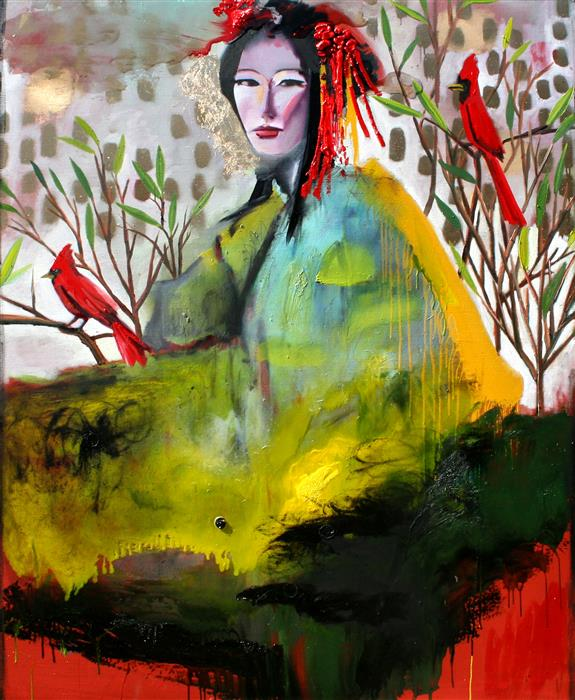 Discover Original Art by Scott Dykema | A Geisha with Red Birds and Red Ground mixed media artwork | Art for Sale Online at UGallery