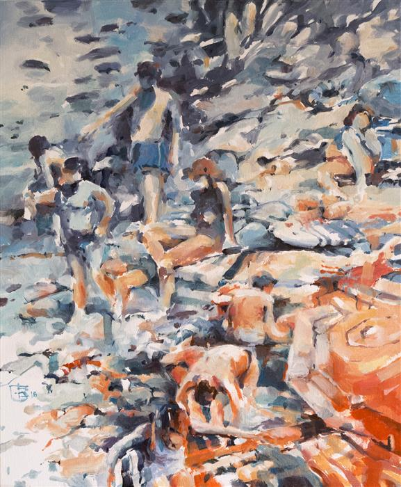Discover Original Art by Tony Belobrajdic | Italian Bathers 5 oil painting | Art for Sale Online at UGallery