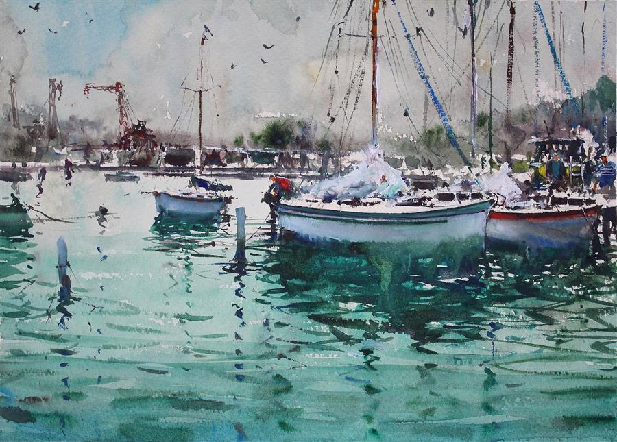 Discover Original Art by Maximilian Damico | Docking Sailboats watercolor painting | Art for Sale Online at UGallery