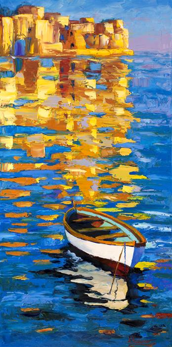 Discover Original Art by Stanislav Sidorov | Golden Sunset, Mediterranean Sea  oil painting | Art for Sale Online at UGallery