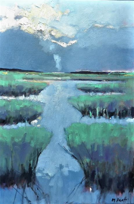 Discover Original Art by Mary Pratt | Blue Marsh oil painting | Art for Sale Online at UGallery