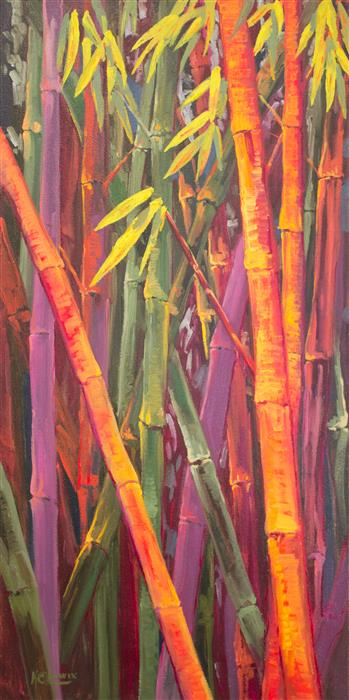 Discover Original Art by Karen E Lewis | Bamboo Cluster oil painting | Art for Sale Online at UGallery