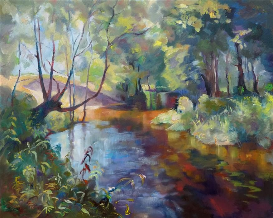 Discover Original Art by Dina Volkova | Forest Stream oil painting | Art for Sale Online at UGallery