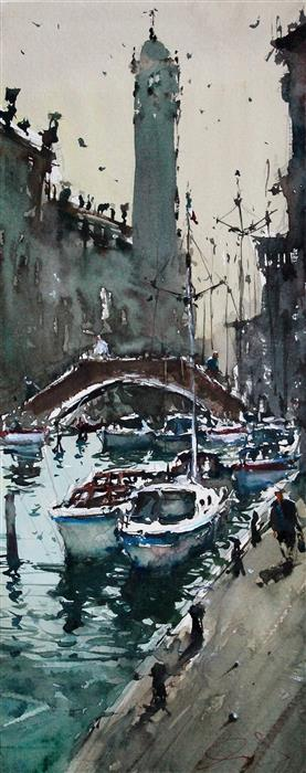Discover Original Art by Maximilian Damico | Small Venice watercolor painting | Art for Sale Online at UGallery