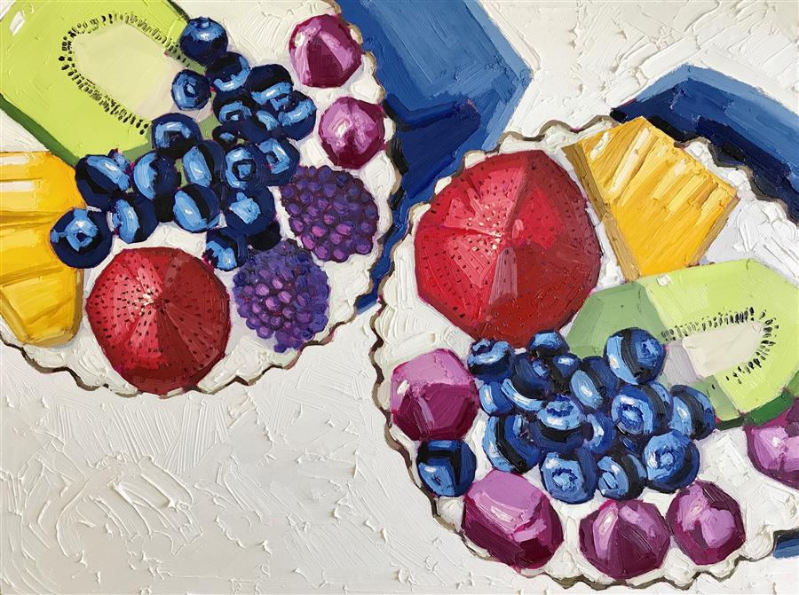 Discover Original Art by Nicole Newsted | Fruit Tarts oil painting | Art for Sale Online at UGallery