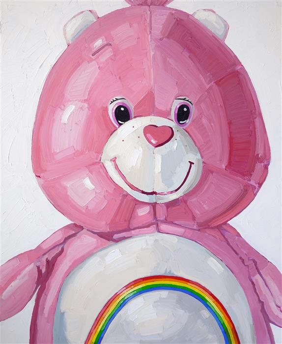 Discover Original Art by Nicole Newsted | Cheer Bear oil painting | Art for Sale Online at UGallery