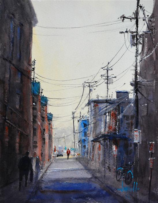 Discover Original Art by Judy Mudd | Dockside Alley watercolor painting | Art for Sale Online at UGallery