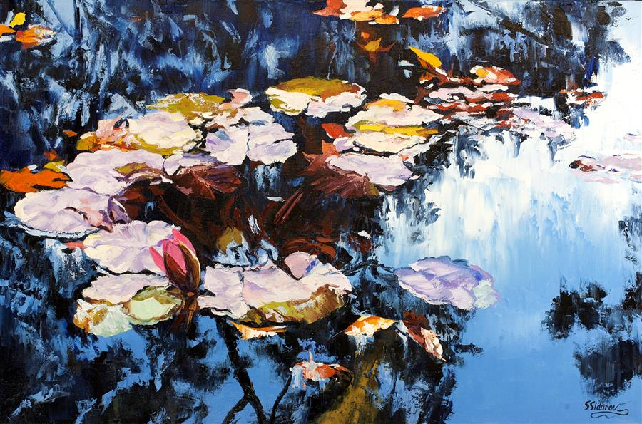 Discover Original Art by Stanislav Sidorov | Tranquil Pond oil painting | Art for Sale Online at UGallery