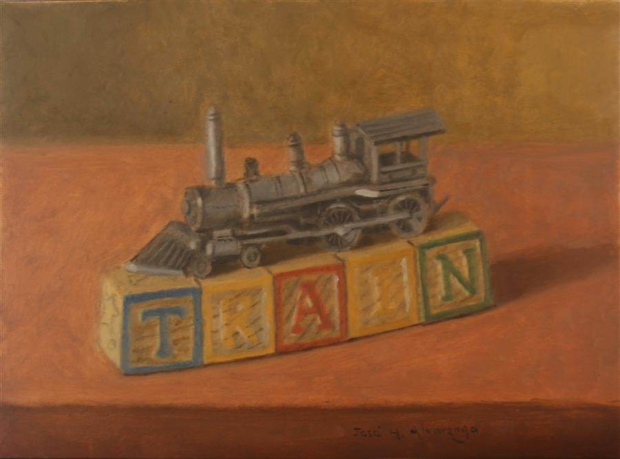 Discover Original Art by Jose H. Alvarenga | Pewter Train oil painting | Art for Sale Online at UGallery