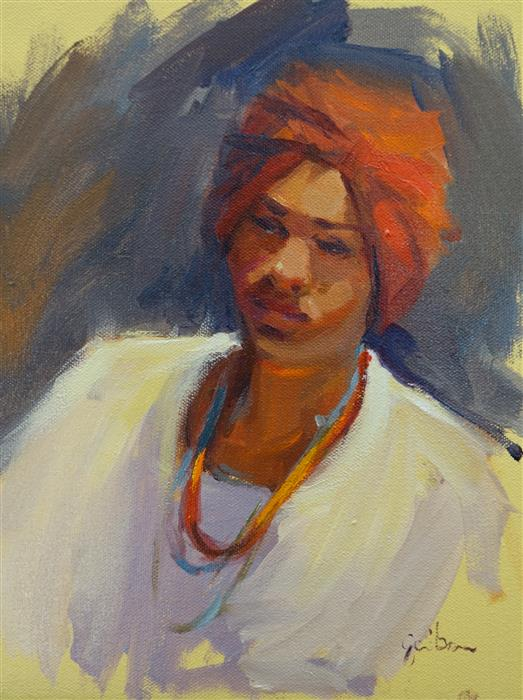 Discover Original Art by George Scribner | Red Bandana oil painting | Art for Sale Online at UGallery