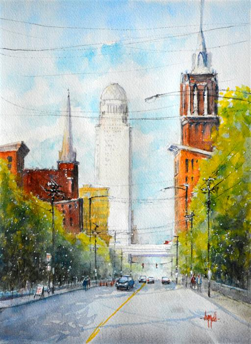 Discover Original Art by Judy Mudd | View Down Market watercolor painting | Art for Sale Online at UGallery