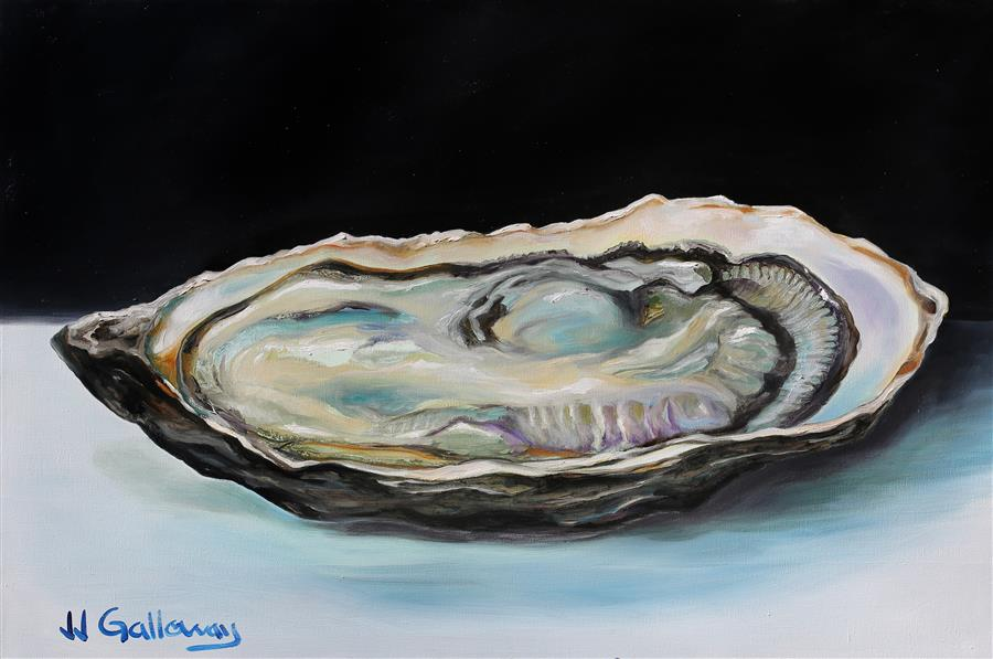Discover Original Art by JJ Galloway | Oyster on the Half oil painting | Art for Sale Online at UGallery