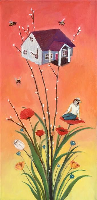 Discover Original Art by Kat Silver | A House Among Wildflowers oil painting | Art for Sale Online at UGallery