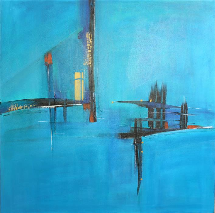 Discover Original Art by Nicholas Foschi | Blue Open Bridge acrylic painting | Art for Sale Online at UGallery