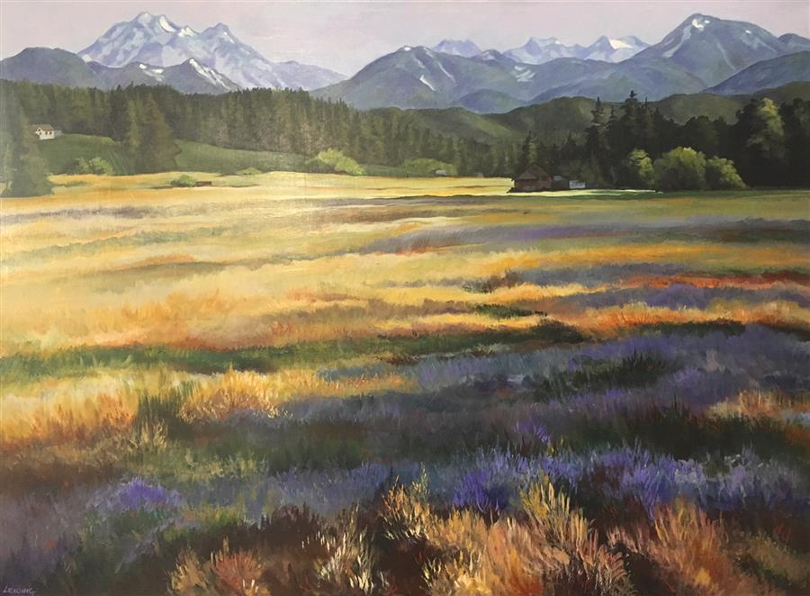 Discover Original Art by Paul Lewing | Teanaway Meadow acrylic painting | Art for Sale Online at UGallery
