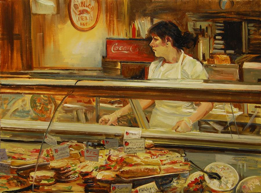 Discover Original Art by Onelio Marrero | Deli Counter oil painting | Art for Sale Online at UGallery