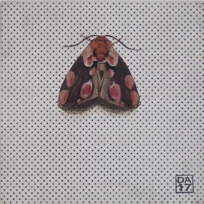 Discover Original Art by Dana Aldis | Peach Blossom Moth acrylic painting | Art for Sale Online at UGallery