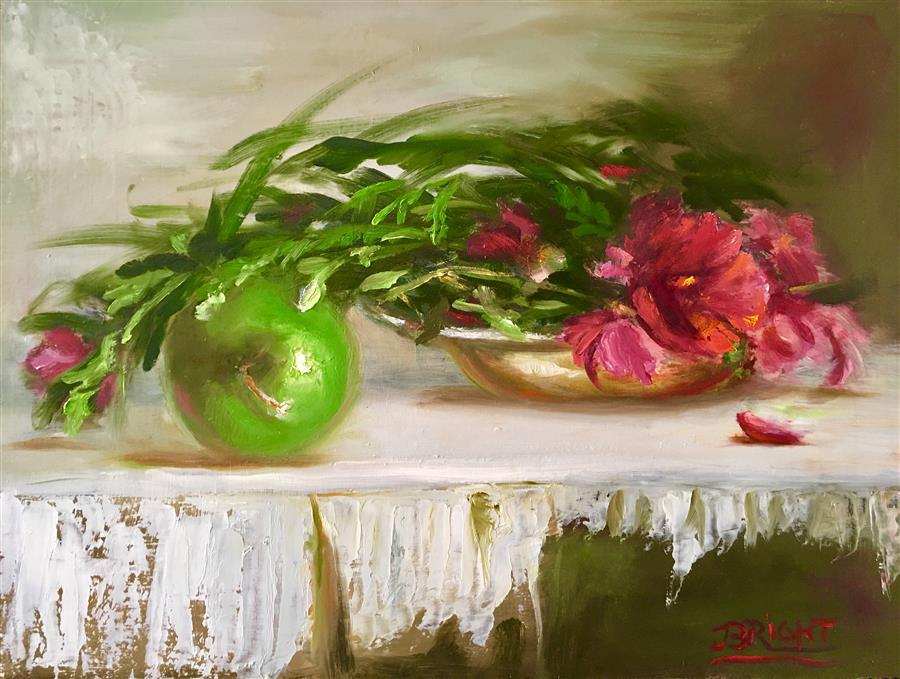 Discover Original Art by Julia Bright | Granny Smith oil painting | Art for Sale Online at UGallery