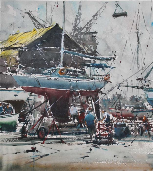 Discover Original Art by Maximilian Damico | Sailing Berthing Port watercolor painting | Art for Sale Online at UGallery