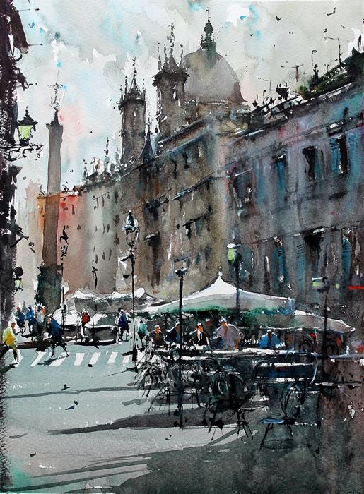 Discover Original Art by Maximilian Damico | Chill Life in Piazza Navona watercolor painting | Art for Sale Online at UGallery