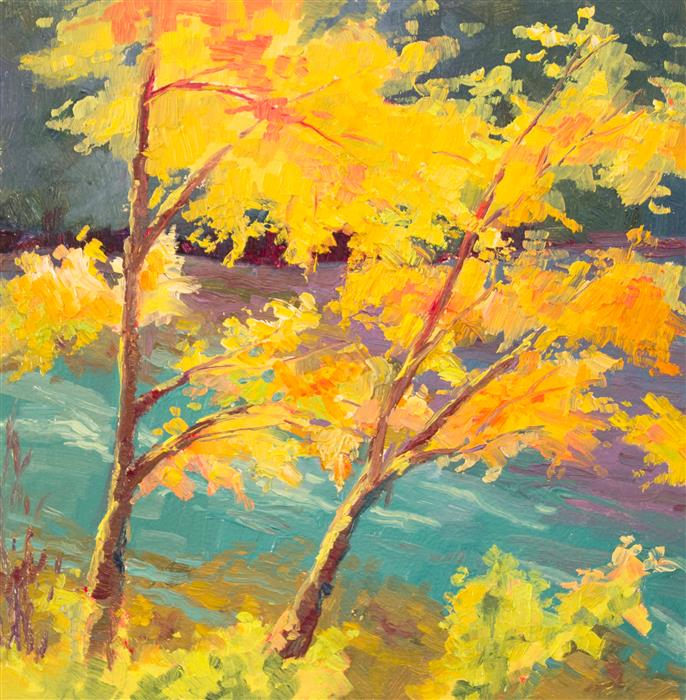Discover Original Art by Karen E Lewis | Leaves by the River oil painting | Art for Sale Online at UGallery